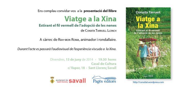 Presentació llibre Viatge a la Xina a Sant Llorenç Savall